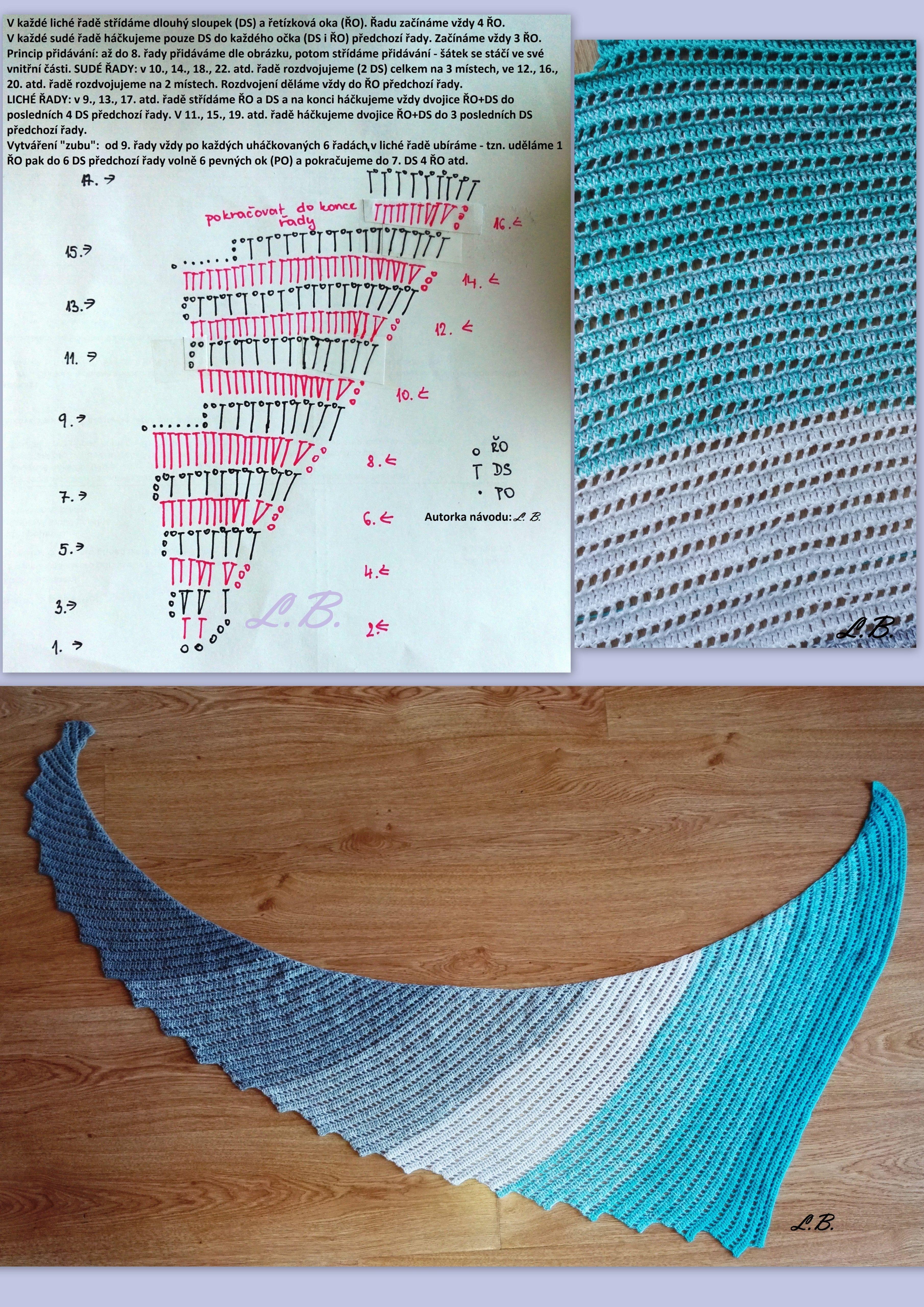 Můj první dračí šátek - my first dragon tail shawl - meine erste ...