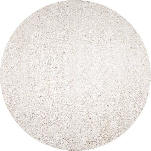 """chelsea collection-high pile soft shag area rug ivory 6'7"""" round"""