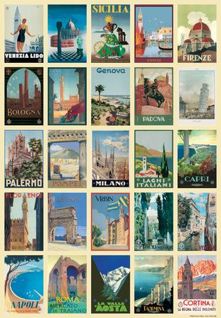 "20x28"" Vintage Style Italian Travel Poster Collage Poster"