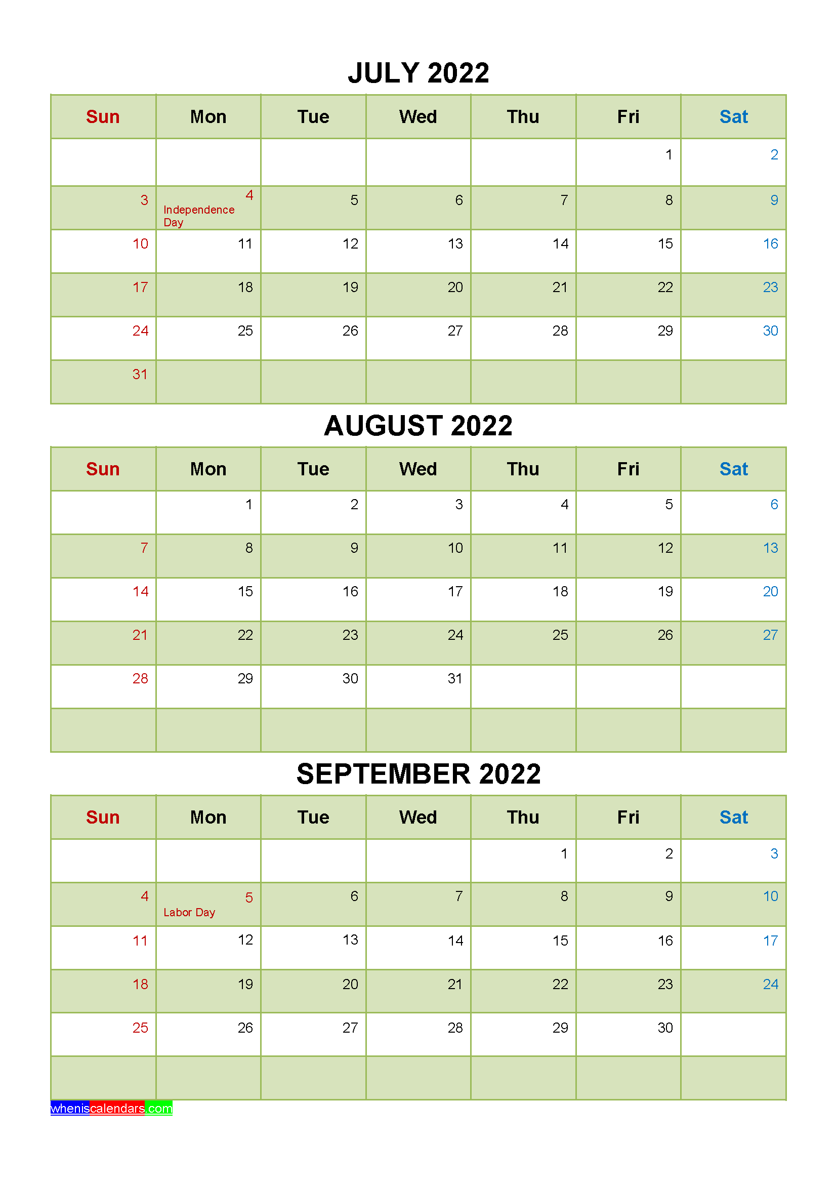 September 2022 Calendar With Holidays.July August September 2022 Calendar With Holidays Printable Four Quarters Printable Calendar July January February March Holiday Printables