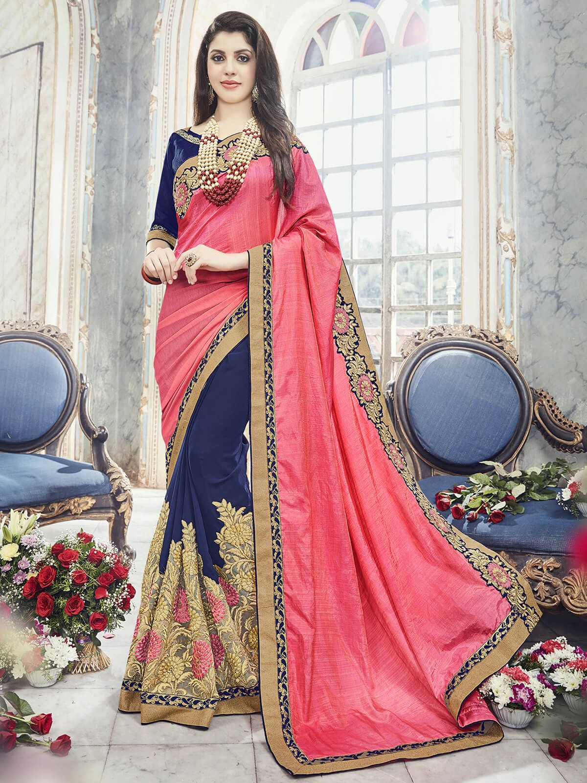 0c2d84a342 Bold carrot and navy blue banglori silk festival wear half and half saree.  Having fabric banglori silk, georgette and jacquard. This beautiful attire  is ...