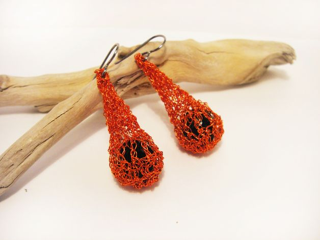 hot neon orange tangerine teardrop crochet wire earrings with black crystal inside -  halloween earrings -  autumn jewelry - Israel jewelry FREE SHIPPING    A lovely pair of teardrop puffed...