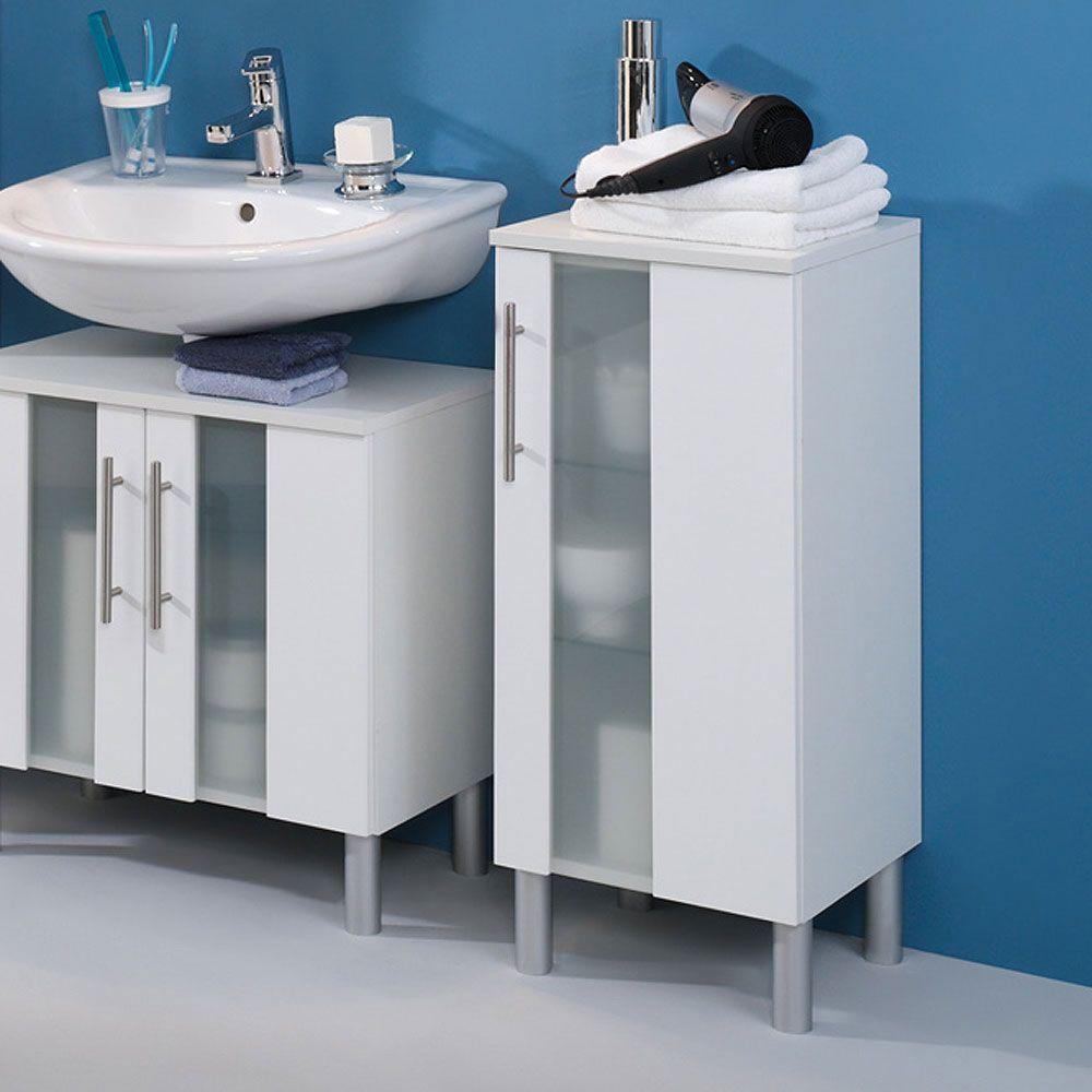 Badezimmer-Unterschrank mit Milchglaseinsatz Weiß Jetzt bestellen ...