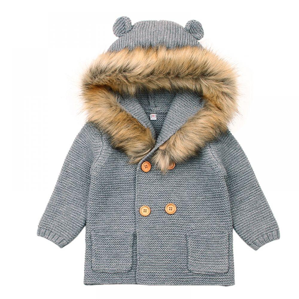mimixiong Baby Sweater Cardigan Boy Jackets Long Sleeve Hooded Coats