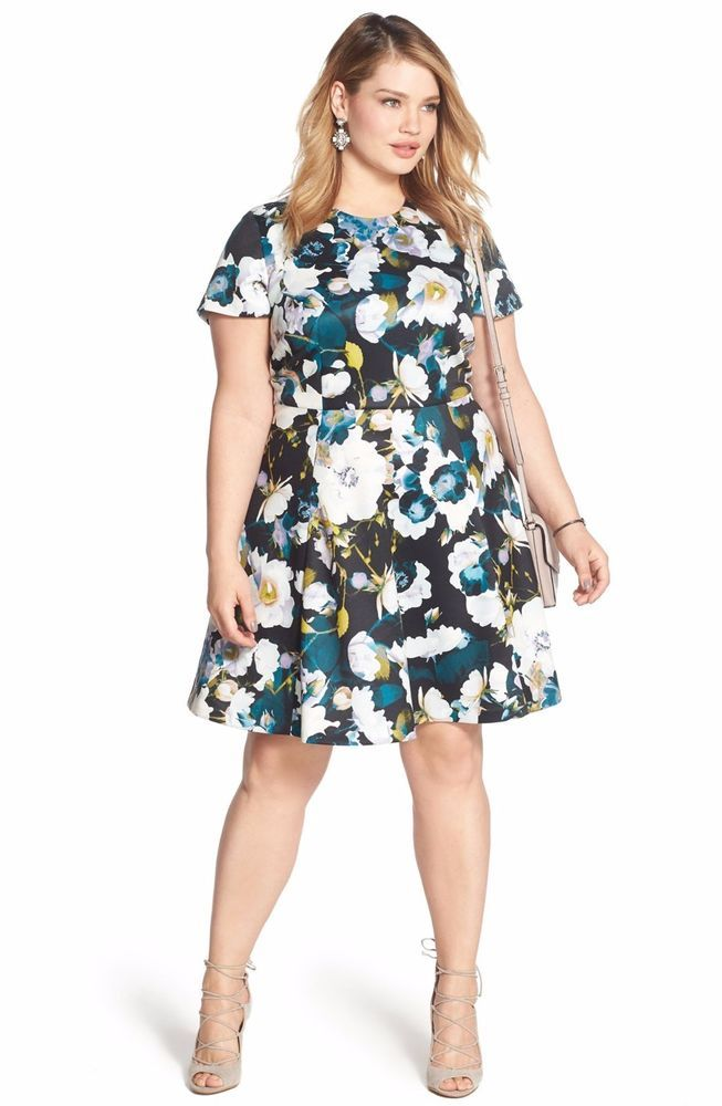 Eliza J Floral Ponte Fit & Flare Dress Plus Size size 18W