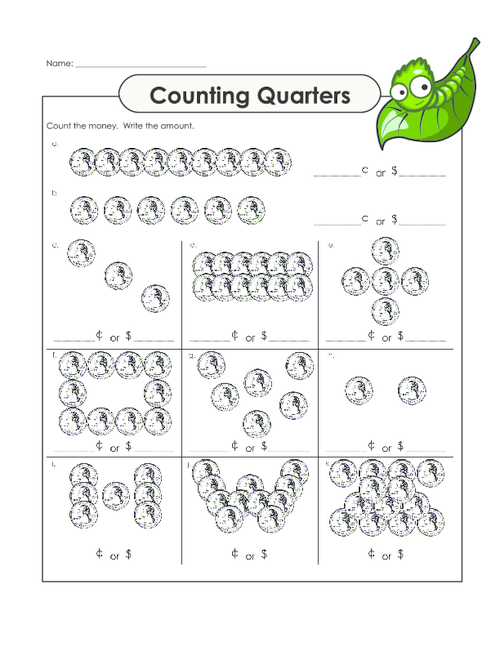 Counting Quarters Worksheet – Counting Quarters Worksheet