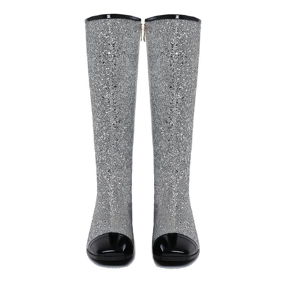 77ddce2c83d Freya Cap Toe Knee High Glitter Boots - 4 Colors. Cap toes are in! These  luxury high fashion design glitter boots are handmade and hot. What more to  say