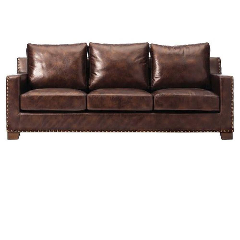 Home Decorators Collection Garrison Brown Leather Sofa Leather  # Muebles Dico Power Center