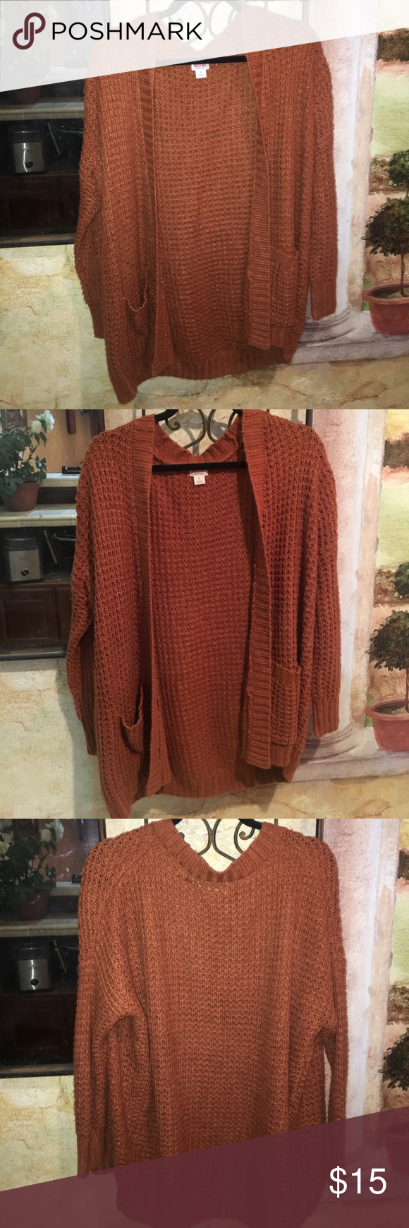Burnt orange knit cardigan with pockets | D, Sweater cardigan and ...