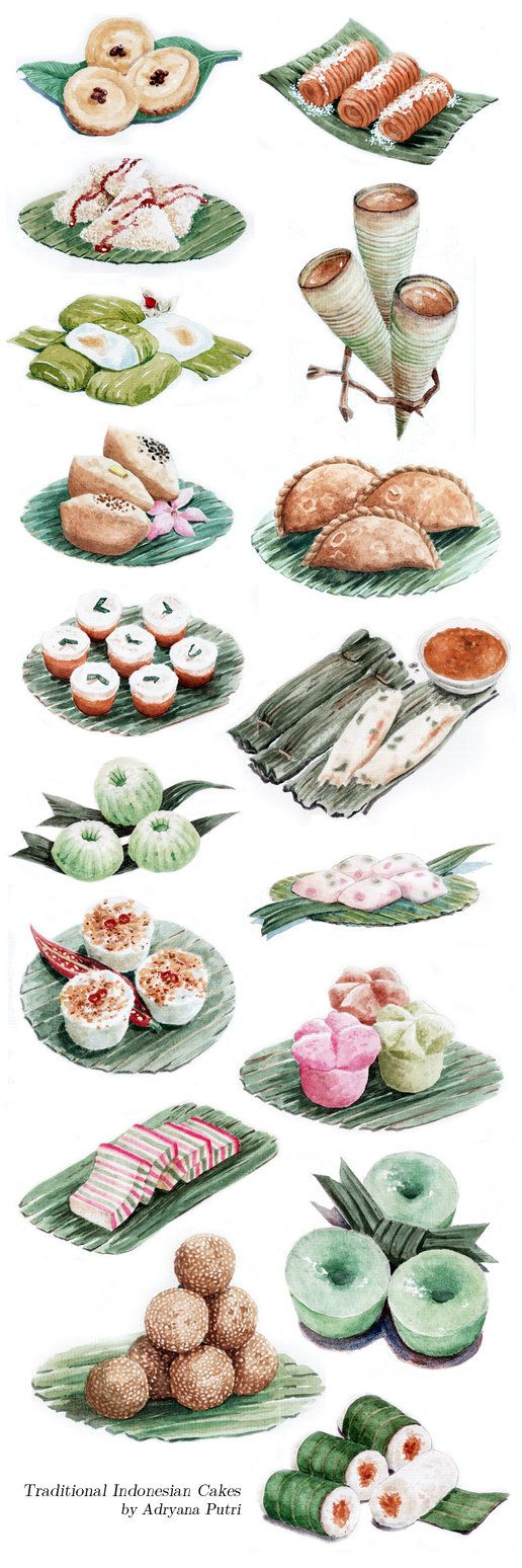 Jajan Pasar (kue basah) khas Indonesia by ~artemiscrow on deviantART