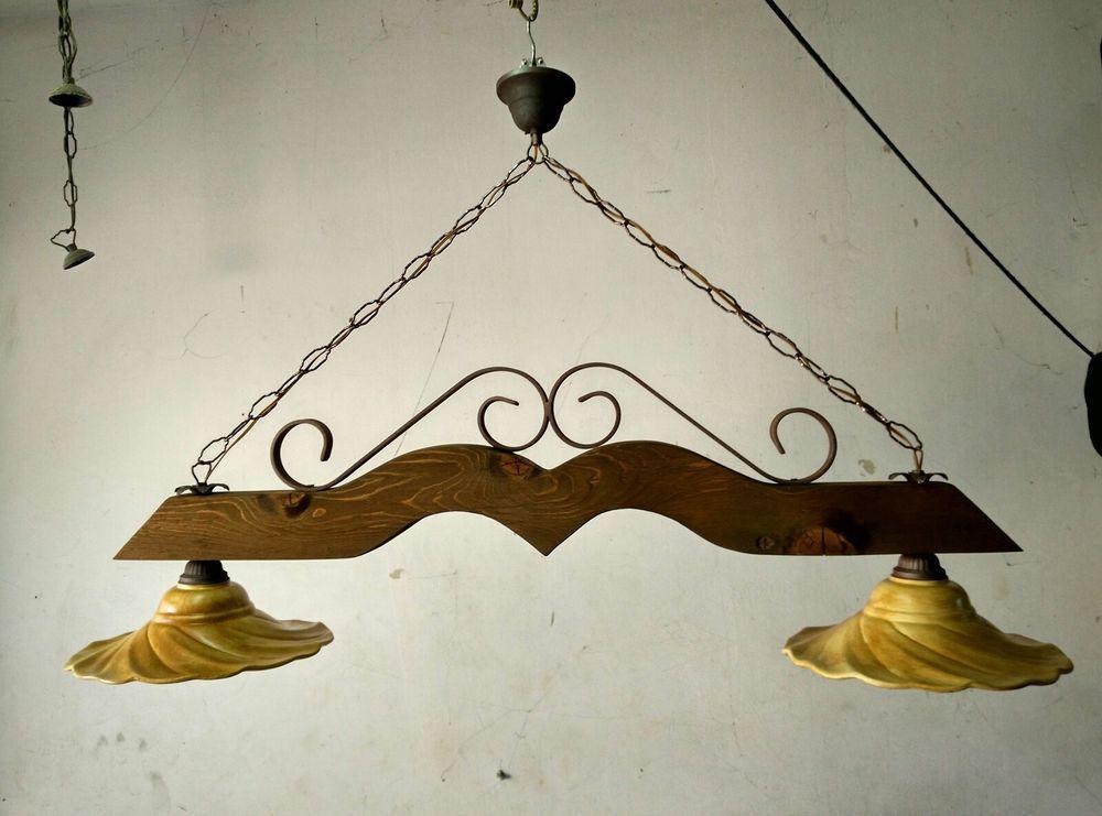 Dettagli su Lampadario rustico in ferro battuto e legno mod ...