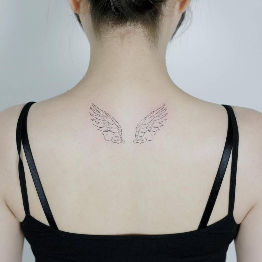 Hand Drawn Wings Tattoo On The Upper Back Back Tattoo Women