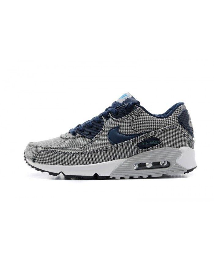 Achats chaussures Nike Air Max 90 Classic Jeans Homme Gris Clair Uc Davis Noir Blanc Bleu pas cher