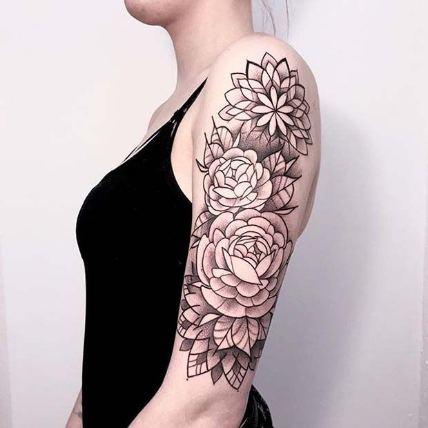 017834fe9 23 Beautiful Flower Tattoo Ideas for Women | tattoo | Full sleeve ...