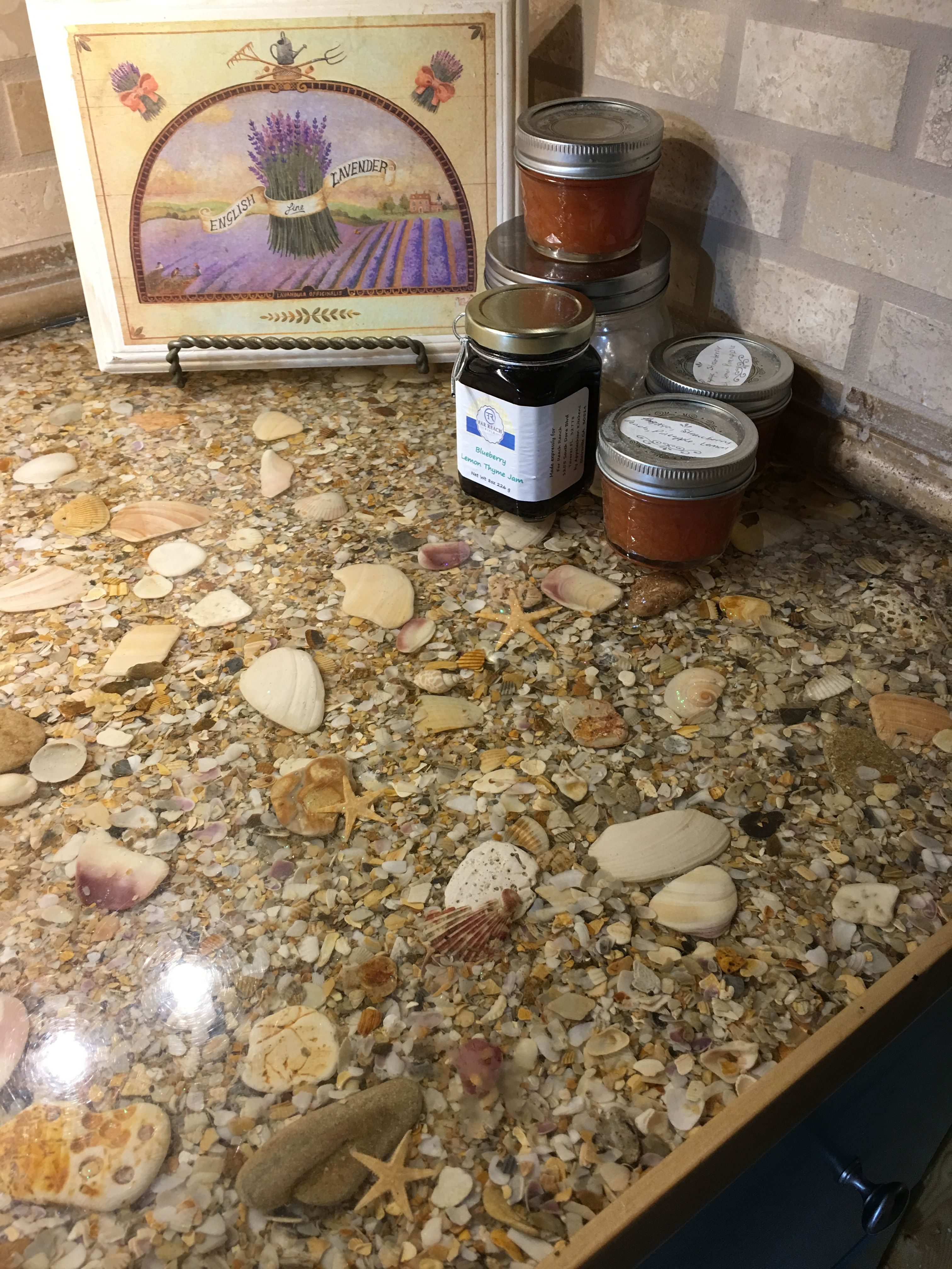 Resin And Shells Countertops Love My Florida Kitchen With