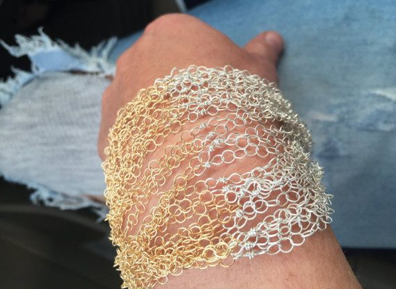 Gold filled & Sterling chain bracelet Cuff by JewelsOverDeity