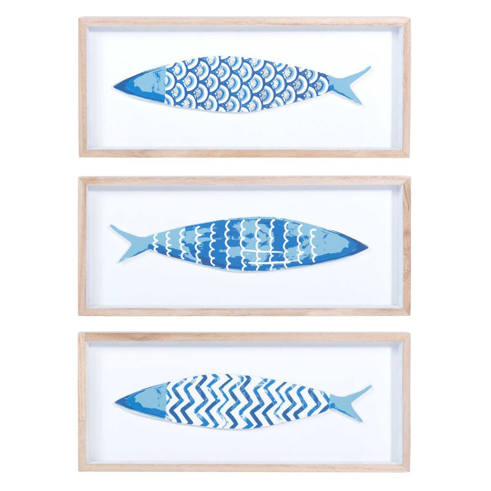 3 Quadri Pesce In Legno Celeste 14 X 33 Cm Maisons Du Monde