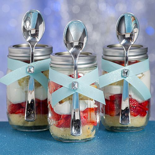 strawberry shortcake in a jar for the sweet table!