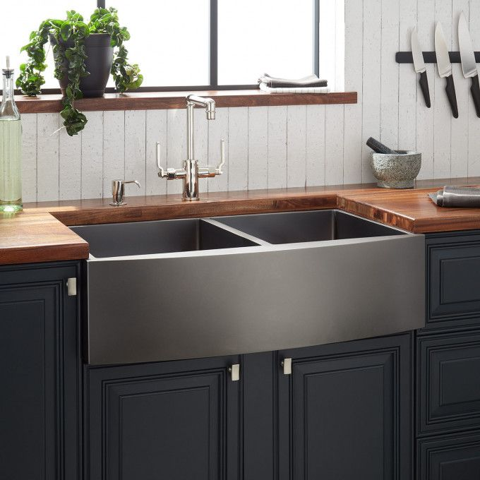 33 Atlas Double Bowl Stainless Steel Farmhouse Sink Curved Apron Gunmetal Black Stainless Steel Farmhouse Sink Farmhouse Sink Kitchen Kitchen Design