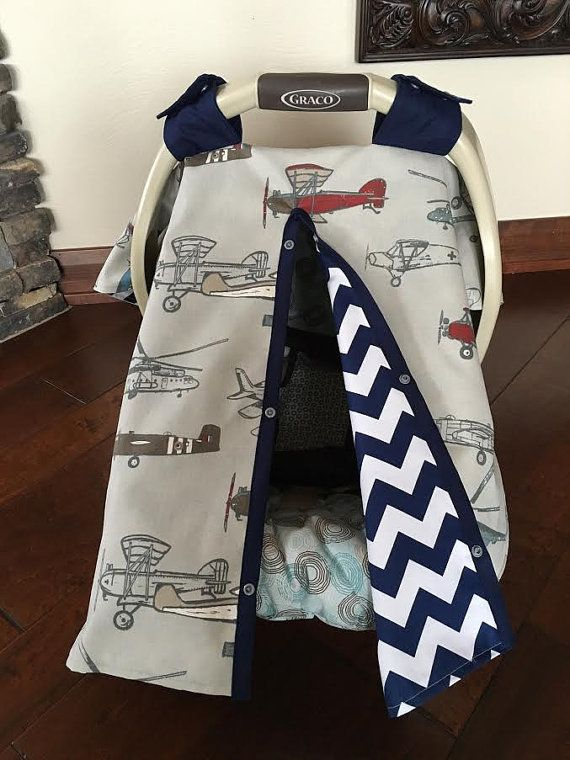 Baby Car Seat Cover Vintage Airplane With Navy By Kitcarsonblue