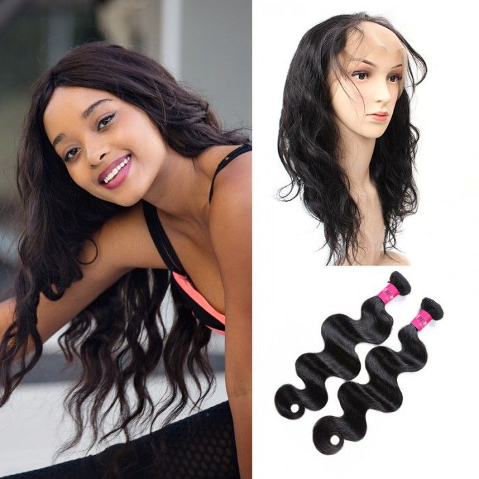 Peruvian Body Wave Hair 360 Lace Frontal With 2 Bundles Hair Body
