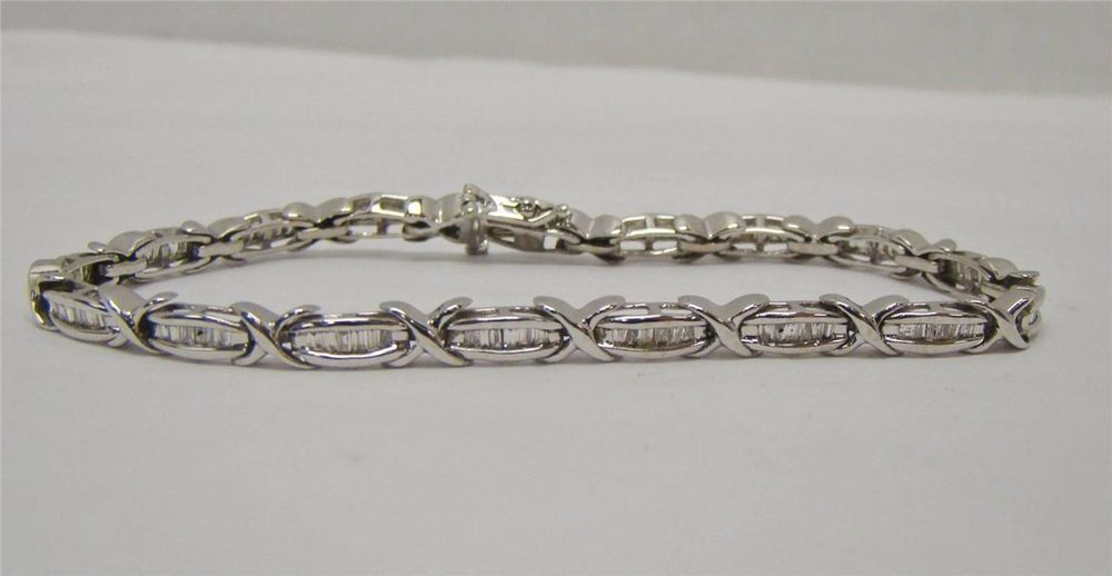 Solid 10k White Gold Diamond 7 Tennis Bracelet 1 Cttw Baguette 9 5 Grams X Link Mgm Tennis Bracelets Diamond Bracelets White Gold