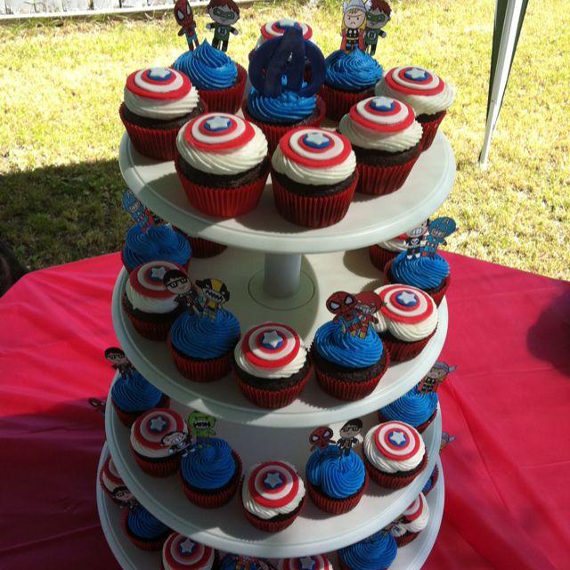 Captain america cupcakes Chocolate cupcakes