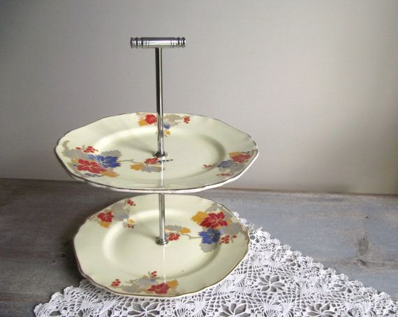 Art Deco 2 Tier Cake Plate / 2 Tiered Cake Stand / Vintage Two Tier Serving & Art Deco 2 Tier Cake Plate / 2 Tiered Cake Stand / Vintage Two Tier ...