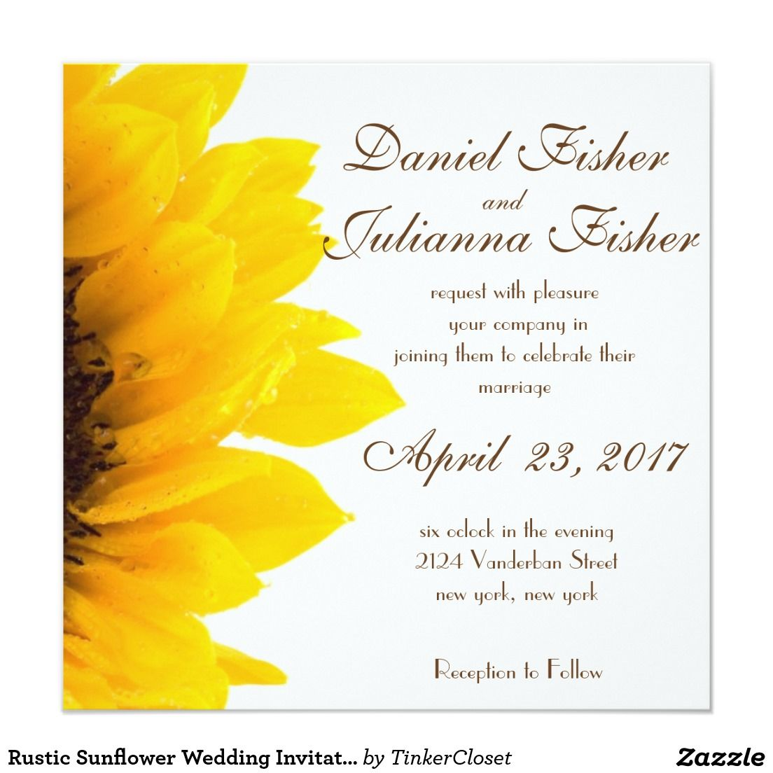 rustic sunflower wedding invitation rustic wedding invitations