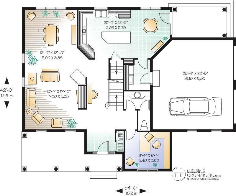 Détail du plan de Maison unifamiliale W2647 4 cs best plans - plan de maison design