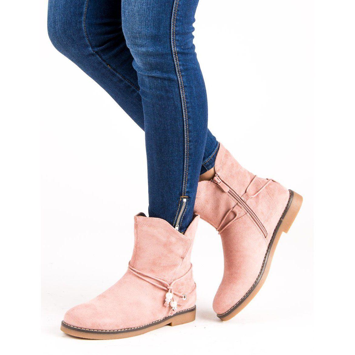 Wygodne Jesienne Botki Rozowe Chelsea Boots Shoes Boots