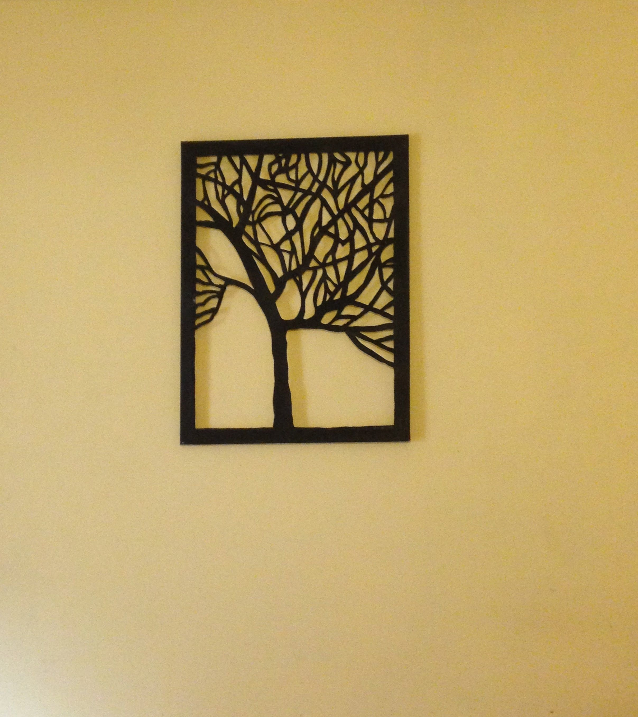 Amazing DIY Canvas Tree Cut Out Wall Art Home Decor Idea