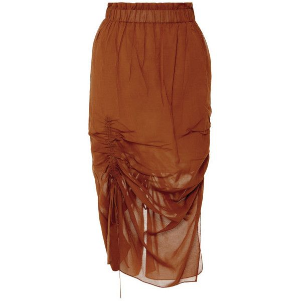 Jonathan Saunders Cacao Bianca Skirt ($805) ❤ liked on Polyvore featuring skirts, cacao, brown skirt, high-waisted skirts, high waisted knee length skirt, high waist skirt and high rise skirts