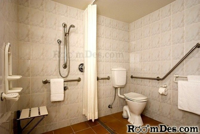 Toilet And Shower Separated By Curtain No Barriers Curtain