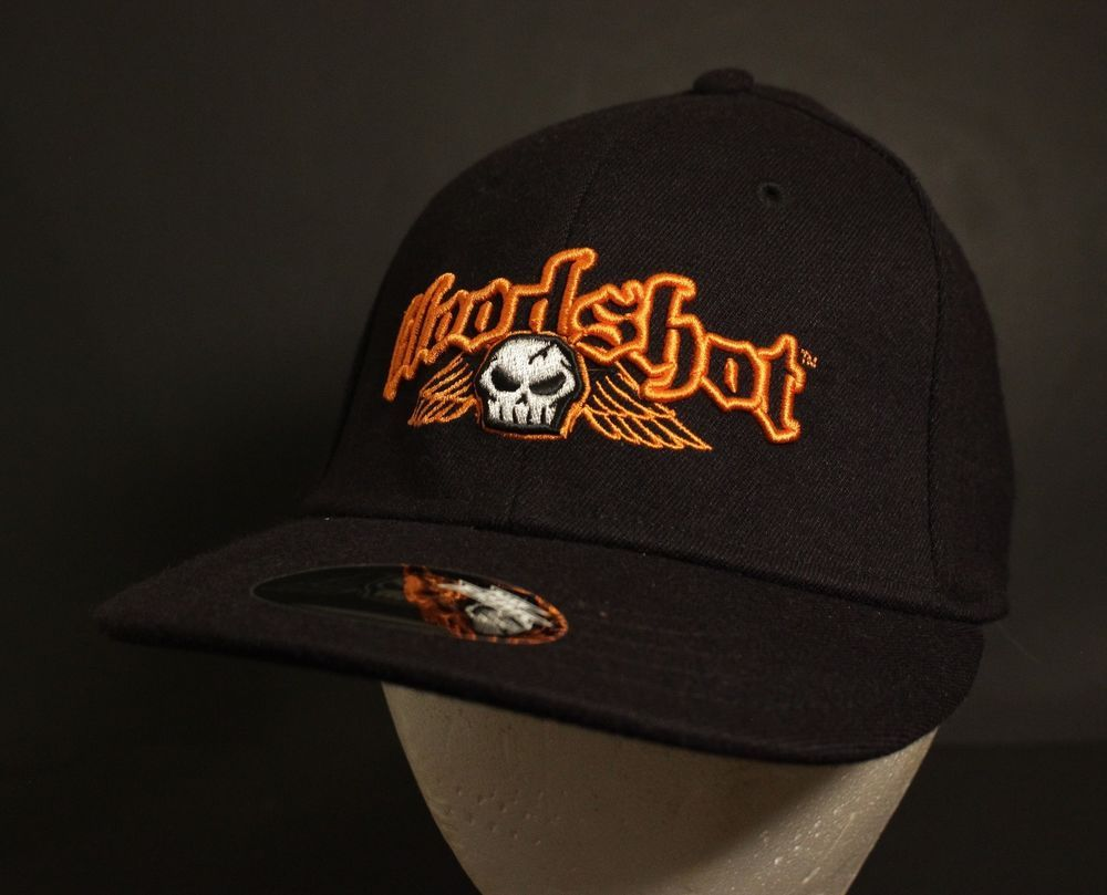 No Fear Bloodshot Baseball Hat Cap L XL Flex Fit Black Orange Skull New  Fitted  NoFear  BaseballCap 6c8fb8be2f8