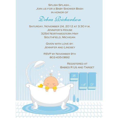 "Baby Shower Invitations: "" #Bath #Time Boy"" features an adorable baby boy wearing floaties and peeking over the side of his overflowing bubble bath. This ultra-cut..."
