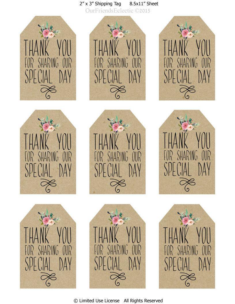Printable wedding favor tags, thank you printable tags, digital ...
