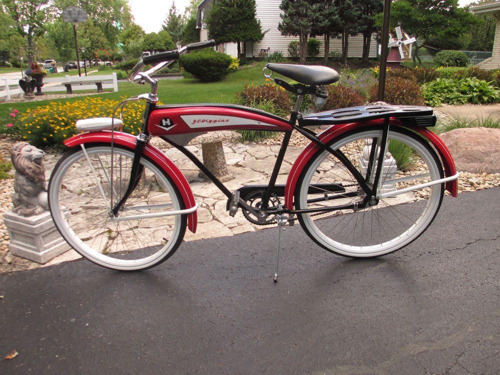 Jc Higgins 1950s Bike Vintage Old Antique Red Black