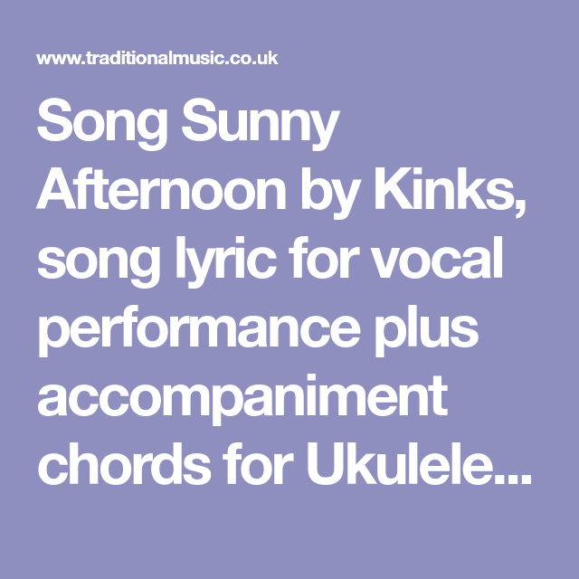 Song Sunny Afternoon By Kinks Song Lyric For Vocal Performance Plus
