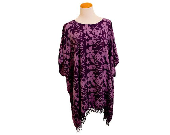 Vintage Purple Batik Fringed Floral Fish Poncho by TheBestDarnShop, $32.00