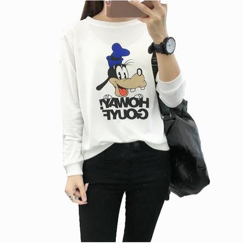 455850ee European American Style Womens Hoodies Pullover Cute Cartoon Print Long  Sleeve O Neck Women's Sweatshirt Loose