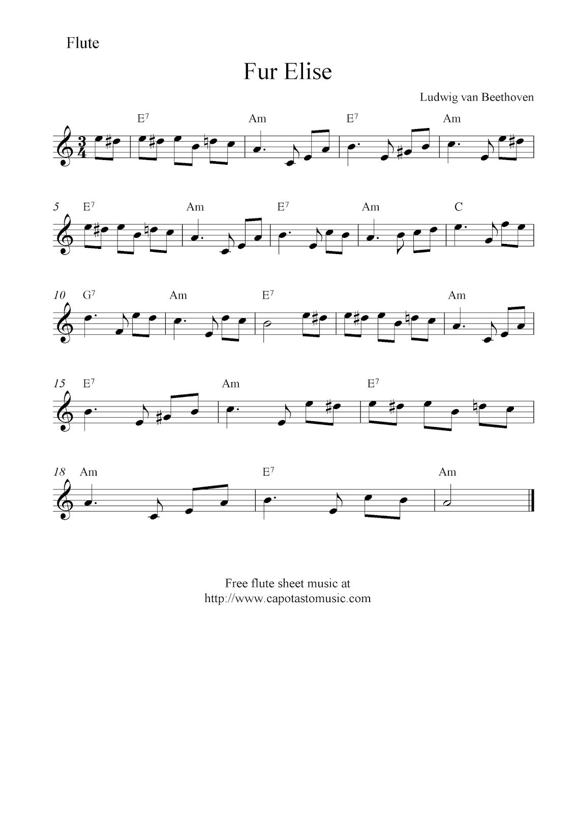 Für Elise Beethoven (Flute) Free flute sheet music