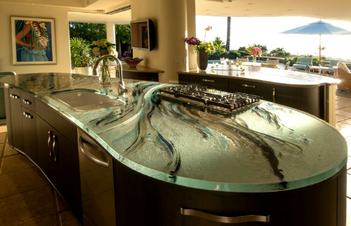 kitchen countertop paintBack Painted Swirl Glass Counter  paint underneath the glass for