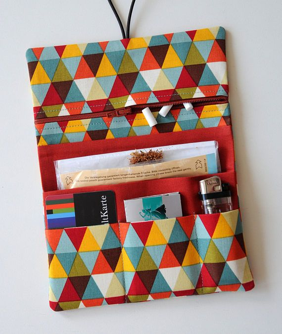 Leno Bag Tobacco Pouches Tobacco Bag Triangles Colored Rust Diy Pencil Case Sewing Patterns Pouch Diy