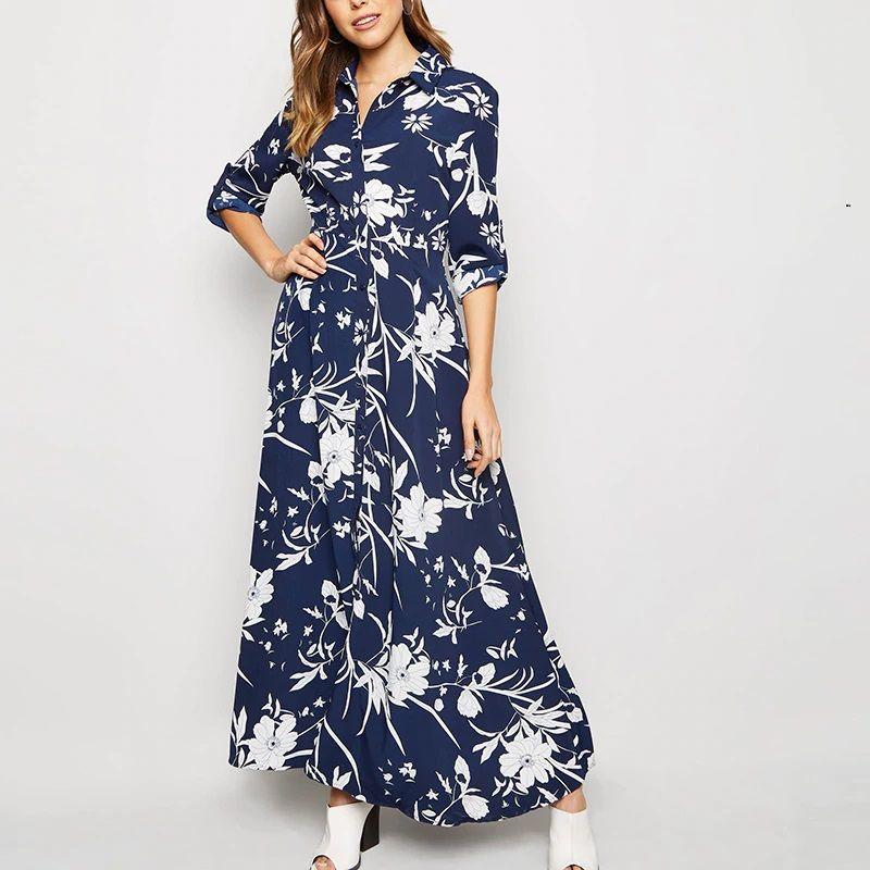 Vintage floral print shirt dress  dark blue floral print dress