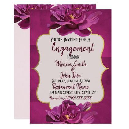 Moonvista Floral Wedding Engagement Invitation Wedding Invitations