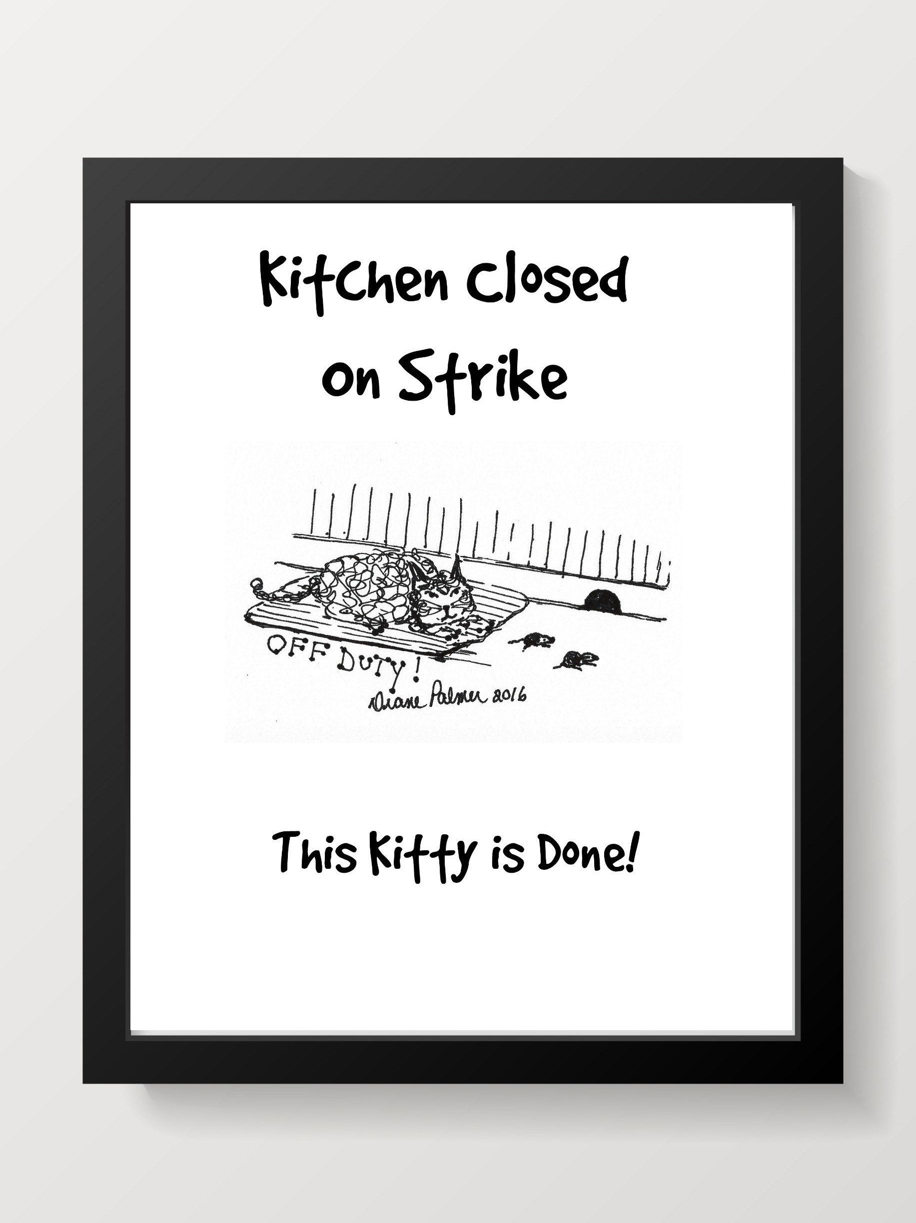 Printable kitchen wall art for the cat lover for the love of cats