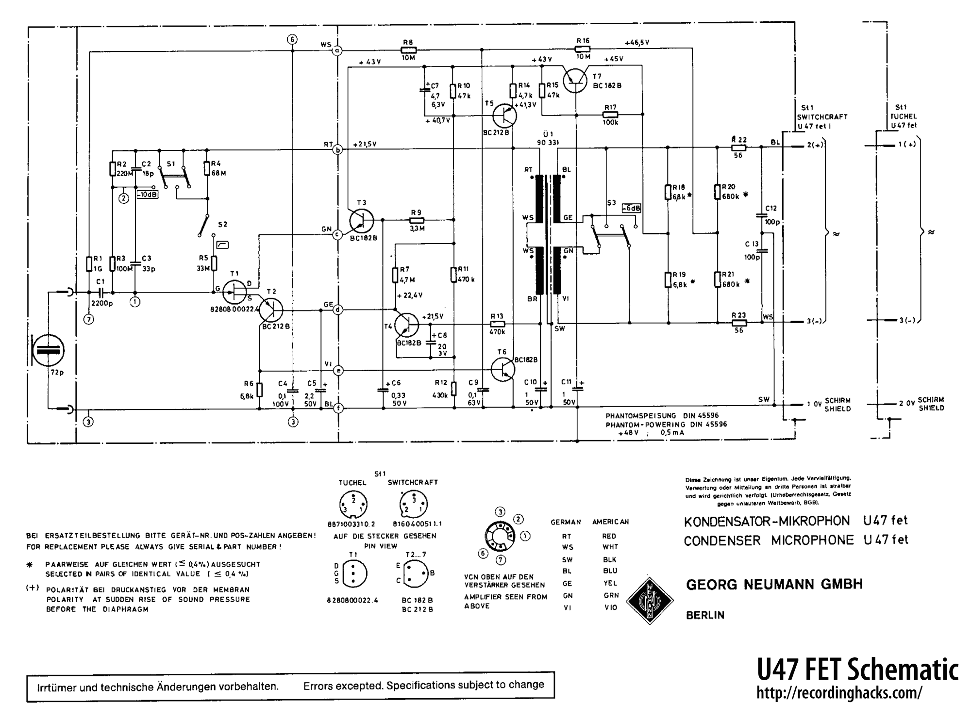 condenser mic schematic