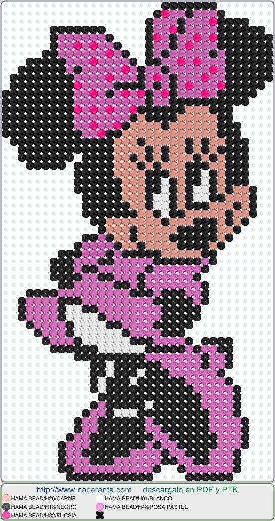 Minnie En Hama Beads Perler Bead Patterns Micky Maus Pinterest
