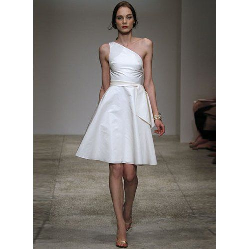 White one shoulder cocktail dress